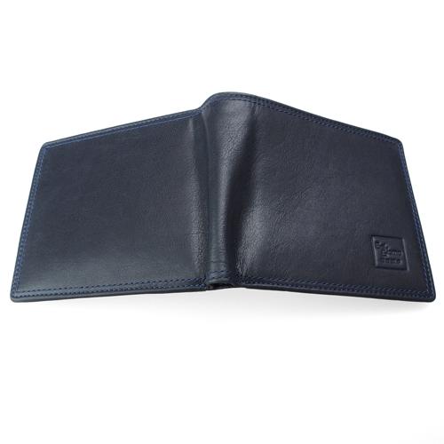 広げた財布。一枚革の説明。